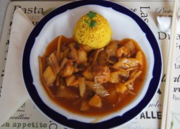 Garnelen-Gemüse-Wok süß-sauer mit Curry Basmati Reis - Rezept - Bild Nr. 2166