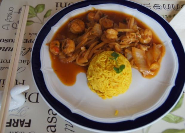 Garnelen-Gemüse-Wok süß-sauer mit Curry Basmati Reis - Rezept - Bild Nr. 2176