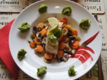 Kabeljaufilet auf Gemüsebett im Wok mit Erbsenpüree - Rezept - Bild Nr. 2225
