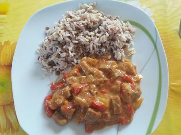 Reis mit scharfe Fleisch - Gemüsepfanne für Wok - Rezept - Bild Nr. 2213