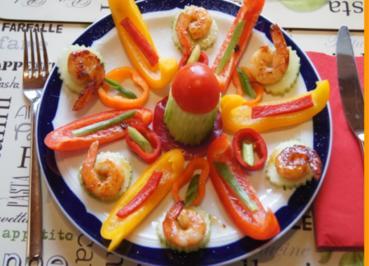Rezept: Bunter Gemüseteller mit Party Crevetten