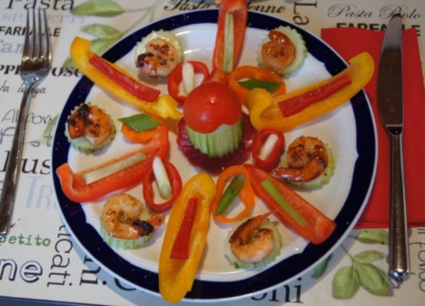 Bunter Gemüseteller mit Party Crevetten - Rezept - Bild Nr. 5