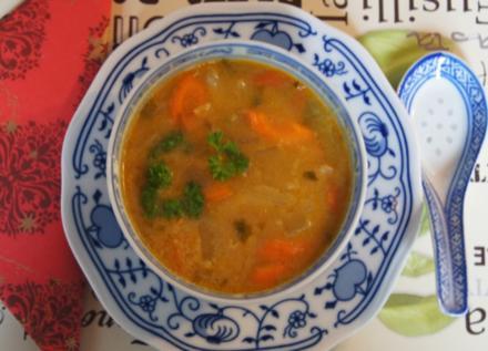Curry-Möhren-Chinakohl-Suppe im Wok - Rezept - Bild Nr. 2289