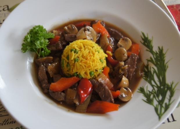 Kalbsleber im Wok mit Gemüse und Curryreis mit Erbsen - Rezept - Bild Nr. 2330