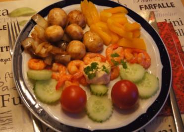 Rezept: Garnelenteller mit warmen und kalten Gemüse
