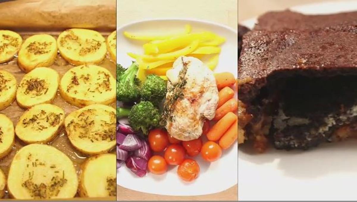 Bilder für Herzhafte Kartoffeln, Ofengemüse mit Hähnchen und Kekskuchen - Rezept
