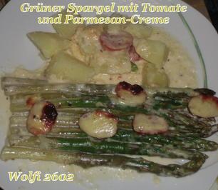 Gemüse : Grüner Spargel - Tomate mit Parmesan-Creme - Rezept - Bild Nr. 2353