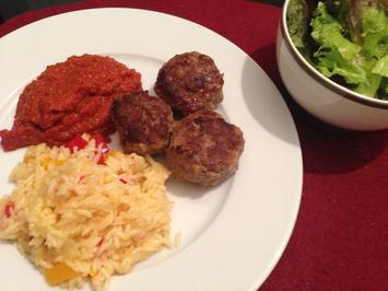 Buletten mit Paprikareis und fruchtiger Currysoße - Rezept - Bild Nr. 2463