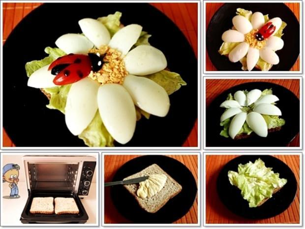 Glücksbringer – Golden Toast mit Eisbergsalat, Eiern und Marienkäfer - Rezept - Bild Nr. 2456