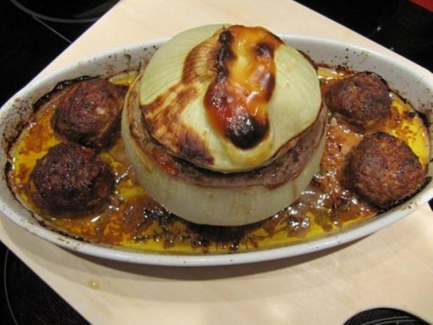 Metzgerzwiebel gefüllt mit Rinderhack - Rezept - Bild Nr. 2490
