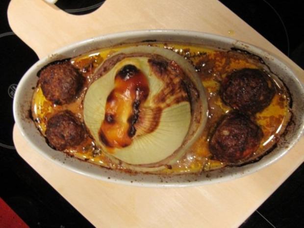 Metzgerzwiebel gefüllt mit Rinderhack - Rezept - Bild Nr. 2491