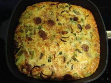 Quiche mit grünem Spargel-Sucuk-Schinken und Käse überbacken - Rezept - Bild Nr. 2500