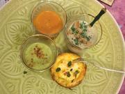 Dreierlei Süppchen im Goldrand mit frühlingshafter Mini-Quiche - Rezept - Bild Nr. 2508