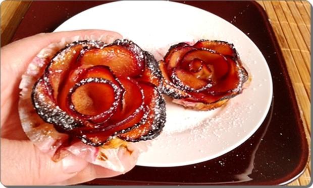 Pflaumen-Blätterteig-Rosen als Dessert - Rezept - Bild Nr. 2594