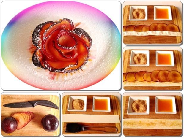 Pflaumen-Blätterteig-Rosen als Dessert - Rezept - Bild Nr. 2608