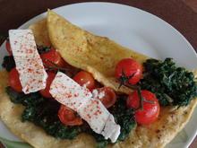 Spinat-Omelett mit Feta und Strauchtomaten - Rezept - Bild Nr. 2659