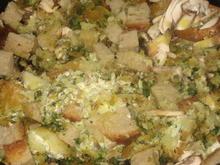 Spinatstäbschen mit Äpfeln, Pilzen, Brot und Frischkäse - Rezept - Bild Nr. 2831