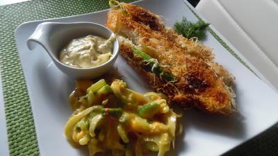 Spargel in Kadayifiteig mit Mango-Fenchel-Sellerie-Salat und Zitronen-Koriander-Mayonnaise - Rezept - Bild Nr. 2798