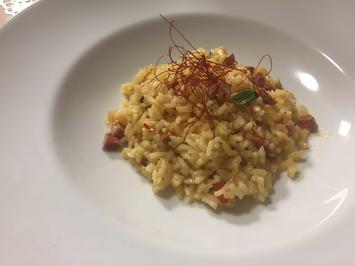 Rezept: Chorizo Risotto mit Wolfsbarsch
