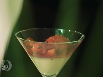 Sorbet und Kompott von Niederwerther Erdbeeren mit Basilikum und Vanille-Panna Cotta - Rezept - Bild Nr. 2