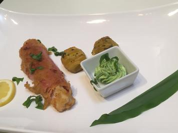 Rezept: Spargel Cordon bleu mit Fächerkartoffeln und Bärlauch-Dip