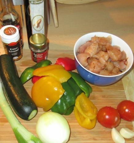 Hähnchen in Erdnuss-Soße mit Wok-Gemüse - Rezept - Bild Nr. 2952