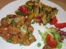 Hähnchen in Erdnuss-Soße mit Wok-Gemüse - Rezept - Bild Nr. 2958