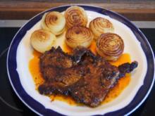 Paprika-Steak mit Zwiebeln und Beilagen - Rezept - Bild Nr. 2988