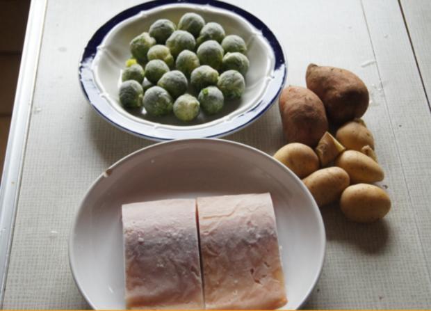Pazifik Wildlachsfilet mit Rosenkohl und Süßkartoffelstampf - Rezept - Bild Nr. 2990