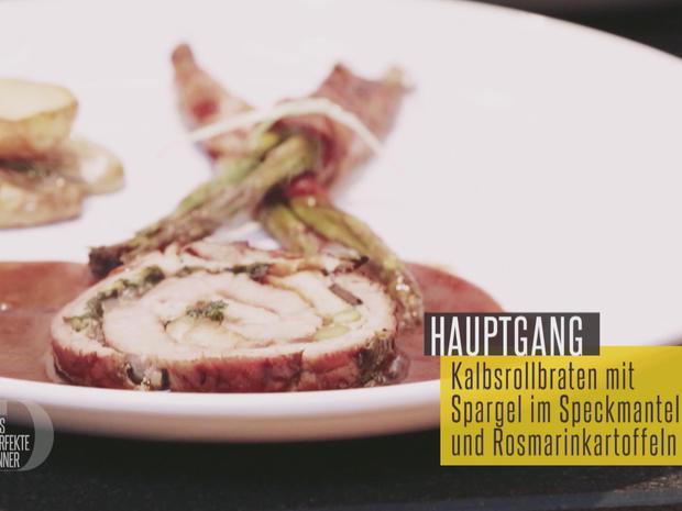 Gefesseltes Kalb – Kalbsrollbraten mit Spargel im Speckmantel und Rosmarinkartoffeln - Rezept - Bild Nr. 2
