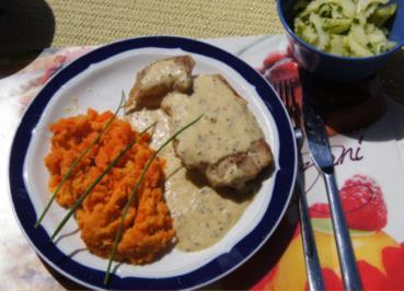 Fischfilet mit Senfsauce, Möhren-Süßkartoffel-Meerrettich-Stampf und Gurkensalat - Rezept - Bild Nr. 3059