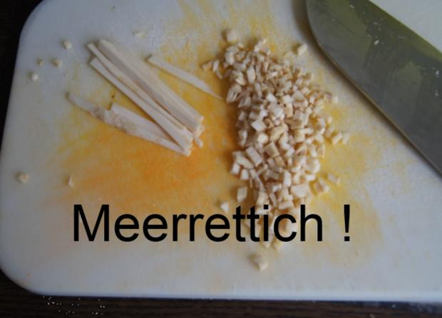 Fischfilet mit Senfsauce, Möhren-Süßkartoffel-Meerrettich-Stampf und Gurkensalat - Rezept - Bild Nr. 3064