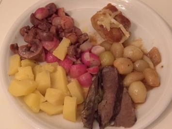 Rezept: Dreierlei vom Kalb mit geschmorten Zwiebeln, geschmorten Radieschen und Kartoffelklößen