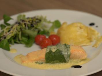 Lachscannelloni mit Lauch, Kartoffelgratin und Champagnersabayon - Rezept - Bild Nr. 2