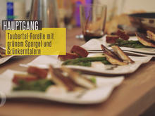 Taubertal-Forelle mit grünem Spargel, Sauce-Hollandaise-Espuma und Grünkerntalern - Rezept - Bild Nr. 2