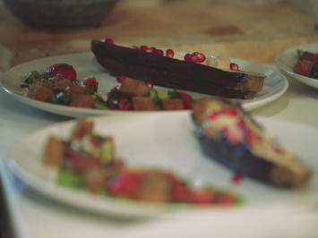 Rezept: Aubergine dazu Tahini und Fatoush Salat