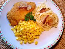 Maisgemüse mit Hähnchen Cordon bleu und Spaghetti - Rezept - Bild Nr. 3269