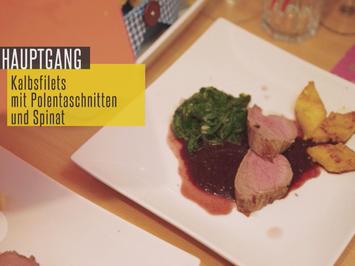 Kalbsfilet auf Portweinsauce mit Polentaschnitten und Babyspinat - Rezept - Bild Nr. 2