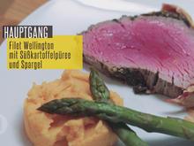 Filet Wellington mit Süßkartoffelpüree und grünem Spargel an Madeira Sauce - Rezept - Bild Nr. 3440