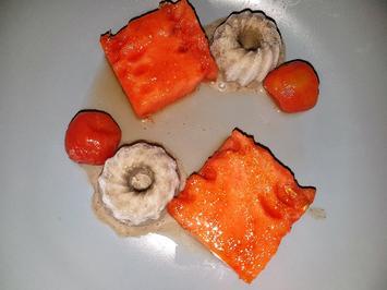 Tomaten in Lavendelsirup mit Sesameis und gratinierter Wassermelone - Rezept - Bild Nr. 3786