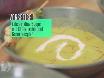 Rezept: Erbsensuppe / Garnelenspieß / Minz-Dip