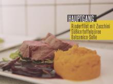 Rinderfilet mit Balsamicosauce, gegrillter Zucchini und Süßkartoffel-Stampf - Rezept - Bild Nr. 2
