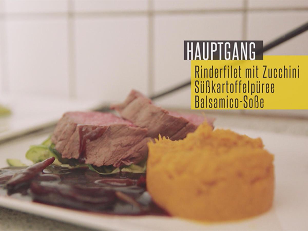 Rinderfilet mit Balsamicosauce, gegrillter Zucchini und Süßkartoffel-Stampf - Rezept Gesendet von Das perfekte Dinner