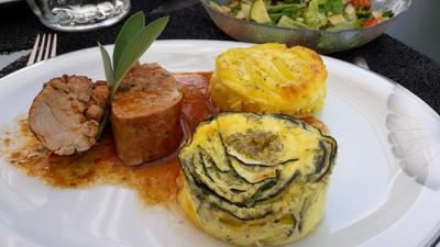 Rezept: Filet mit Zucchini-Kartoffel-Clafoutis