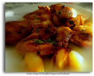Rezept: Chicken Wings mit Kartoffeln,Oregano und Knoblauch