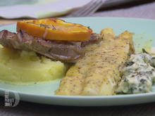 Lammkotelett, dazu Spargel in Orangensoße und Malfatti mit Kartoffelstampf - Rezept - Bild Nr. 2