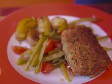 Kräuterschnitzel von Lammlachsen auf buntem Bohnensalat mit Papas Arrugadas - Rezept - Bild Nr. 2