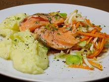 Gedämpfter Lachs auf Julienne-Gemüse und Wasabi-Pürree - Rezept - Bild Nr. 3