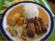 Gourmet-Ente auf Gemüsebett mit Erdnusssauce und Basmatireis - Rezept - Bild Nr. 3529