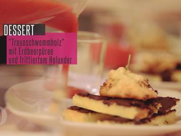 """""""Traun-Schwemmholz"""" mit Erdbeerpüree und frittiertem Holunder - Rezept - Bild Nr. 2"""
